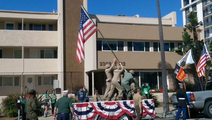 Iwo Jima flag raising re-enactment.
