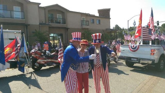 """A couple of jovial """"Uncle Sams'"""" mugging for the camera."""